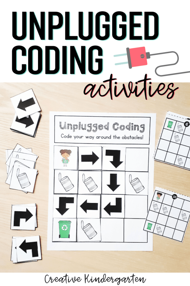 Unplugged Coding activities for beginning coding skills. Use directional coding to program a path around obstacles. No tech needed for this fun, hands-on activity to practice how to code with kindergarten students.