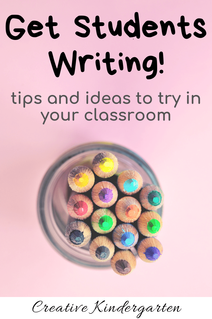 Tips and ideas to get kindergarten students writing. Find tricks to get you class to begin to write. Find new ways to work on writing with a free download!