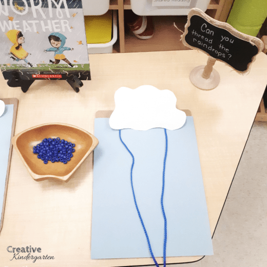 rain cloud fine motor center for kindergarten fine motor skill practice. A great, hands-on spring activity to go with a weather or cloud theme in kindergarten.