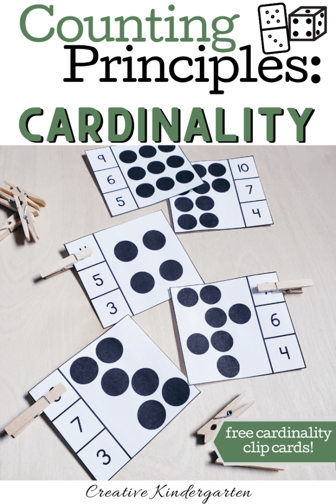 A review of Counting Principles for kindergarten number sense. Free cardinality clip cards for your students to use to practice their number sense skills. FREEBIE included! #cardinality #numbersense #creativekindergarten