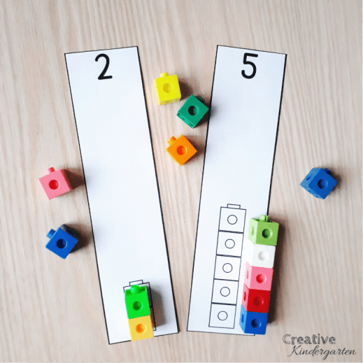 A review of Counting Principles for kindergarten number sense. Free one-to-one correspondence number cards for your students to use to practice their number sense skills. FREEBIE included! #onetoonecorrespondence #numbersense #creativekindergarten