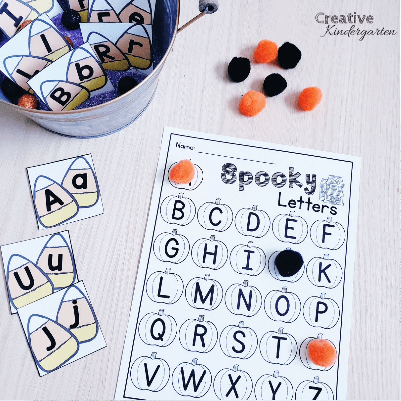 Spooky Letters Halloween Literacy center for Kindergarten. Reinforce letter recognition and formation with this fun, hands-on center. #literacy #halloween #creativekindergarten