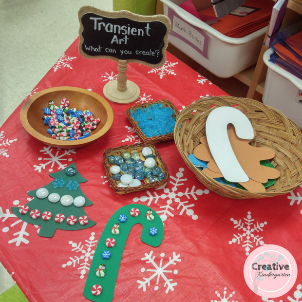 Create some Christmas transient art using some shape cutouts and loose parts. Our students loved making patterns, and decorating the different items.