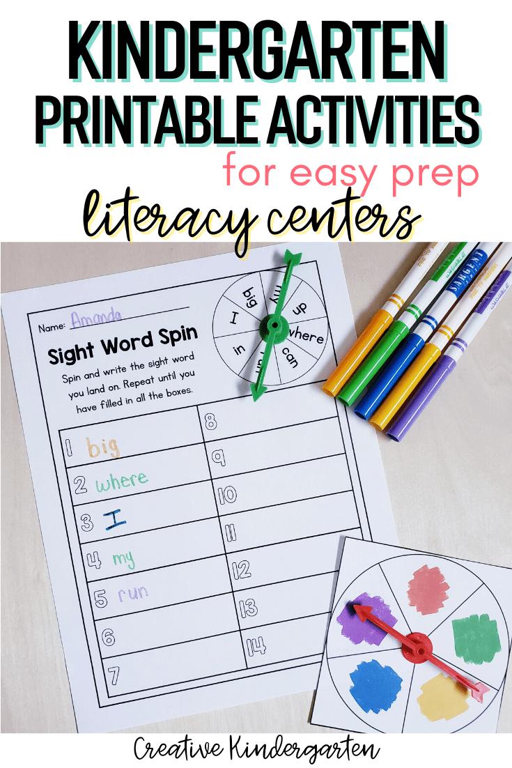 Kindergarten Printable Activities For Easy Prep Literacy Centers