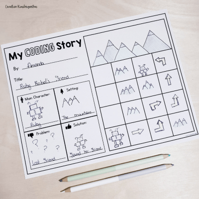 Reinforce creating writing and coding skills with these story elements writing prompts.