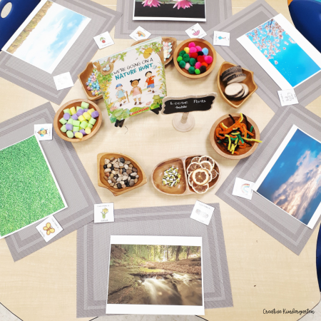 Store loose parts and other materials in natural storage containers to make your provocations appealing and to keep them organized.