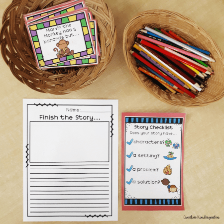 Use baskets to hold learning materials and writing tools for your kindergarten classroom centers.