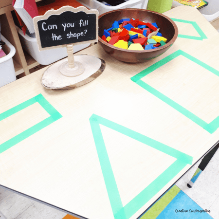 Practice spatial awareness skills with this fun pattern block activity. Place the shapes to cover the space outlined by tape.