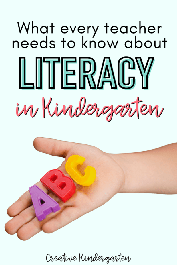 What every teacher needs to know about literacy in kindergarten text with child's hand with the magnetic letters A, B and C on a light blue background.