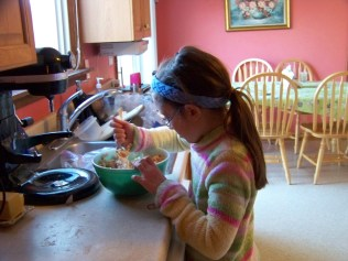 Kaylin mixing up the filling.