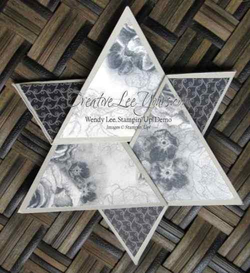 "elegant star fold by Candy Combs, #creativeleeyours, Sampin"" Up!, timeless elegance DSP, diemonds team swap"
