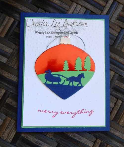 Sleigh Ride Ornament by Wendy Lee, #creativeleeyours, Stampin' Up!, Diemonds team swap, sleight ride edgelits, delicate ornament thinlits