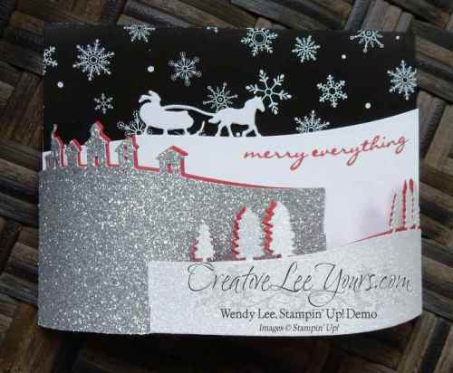 Bendi Sleigh Ride Card by Wendy Lee, #creativeleeyours, Stampin' Up!, Oct 2015 FMN class, Sleigh ride edgelits, Christmas