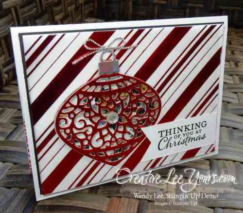 Delicate Ornament Shaker by Wendy Lee, #creativeleeyours, Stampin' Up!, Embellished Ornaments, Christmas card