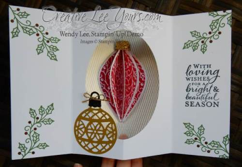 Embellished Moments by Wendy Lee, #creativeleeyours, Stampin' Up!, Oct 2015 FMN class, delicate ornament thinlits, Christmas