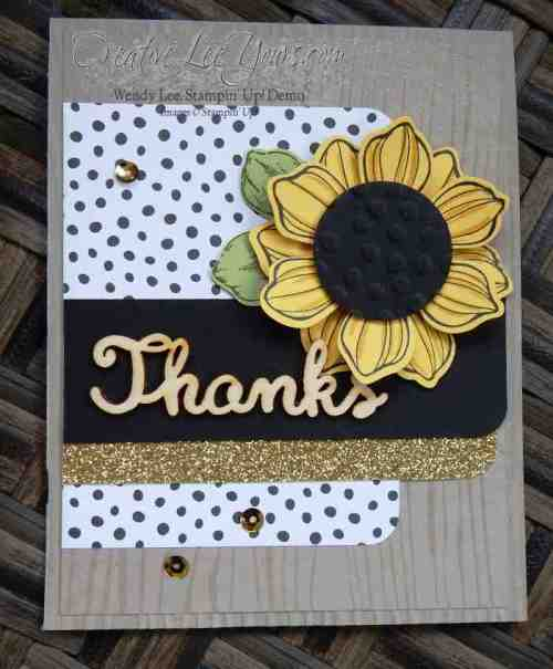 Beautiful Bunch Sunflower by Wendy Lee, #creativeleeyours, Stampin' Up!, December 2015 FMN class, hand made card