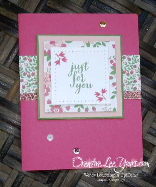 Just for you by wendy lee, Paper Pumpkin Pocketful of Cheer, #creativeleeyours, Stampin' Up!, April 2016 FMN class