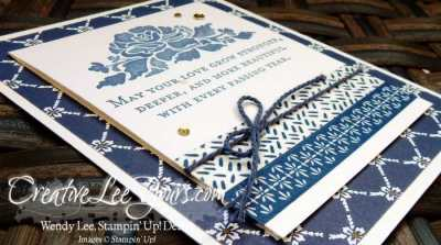 Wedding Wishes by Wendy Lee, Stampin Up, stamping, #creativeleeyours, floral phrase stamp set, detailed floral thinlits, hand stamped card, june 2016 fmn class