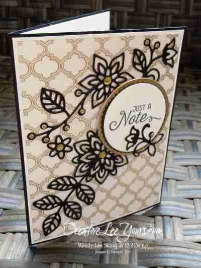 Just a Note Flourishes by Wendy Lee, Flourishing Phrases stamp set, Stampin Up, stamping, hand made cards, #creativeleeyours, July 2016 FMN class