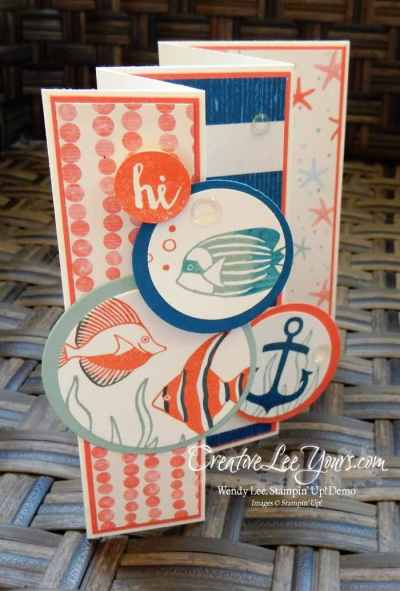Hi! Panel Fold by Wendy lee, Stampin Up, Seaside Shore stamp set, #creativeleeyours, August 2016 FMN class