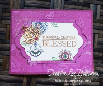 Paisley Labels Z Fold by Wendy Lee, Stampin Up, Paisleys & Posies stamp set, Paisley Framelits, Lots of Labels Framelits, #creativeleeyours, Hand Made Cards, September 2016 FMN class
