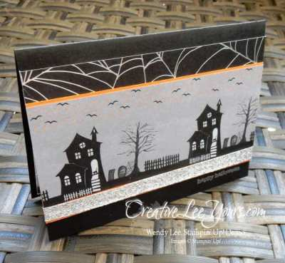 Halloween Night Haunted House by Wendy Lee, Stampin Up, Halloween card, Letters for you stamp set, Diemonds team meeting