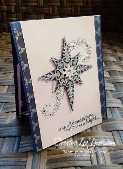 Pop-Up Panel Star of Light by Wendy Lee, Stampin Up, Star of Light stamp set, Starlight Thinlits, #creativeleeyours, Hand Made Christmas Cards