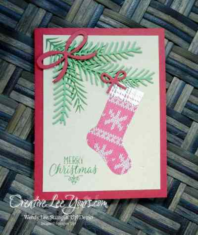 Christmas Stocking by Jennifer Moretz, Christmas Pines stamp set, Hang Your Stocking stamp set, Warmth & Cheer Designer Series Paper Stack, Pretty Pines Framelits, Christmas Stockings Thinlits, Stampin Up, #creativeleeyours, diemonds team swap, Christmas, hand made card