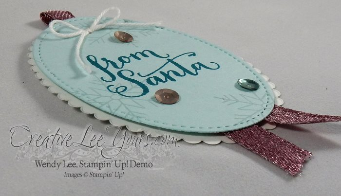 Stitched Gift Tag by Wendy Lee, Stampin Up, Stitched framelits dies, layering ovals dies, stitched with cheer stamp set, oh what fun stamp set, #creativeleeyours, hand stamped, christmas