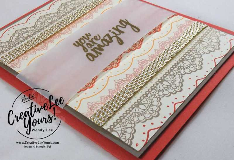 You are amazing by Wendy Lee, Stampin Up, #creativeleeyours, All things Thanks stamp set, delicate details stamp set, #SAB2017, Kylie Bertucci International highlights, Hand made thank you card