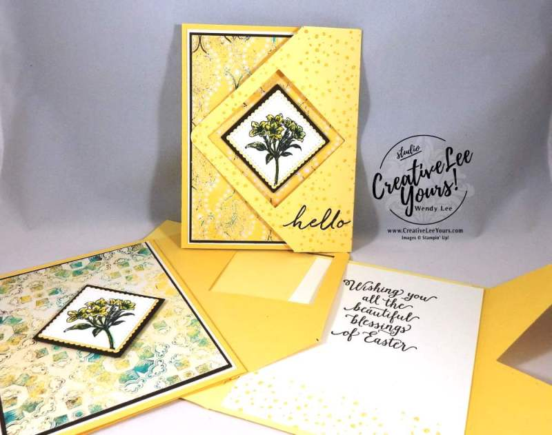 Easter Blessings Lily Tri-Fold by Wendy Lee, Stampin Up, Avant Garden, #creativeleeyours, creatively yours, suite sayings stamp set, watercolor wishes stamp set, fun fold, hand stamped easter card, March 2017 FMN class