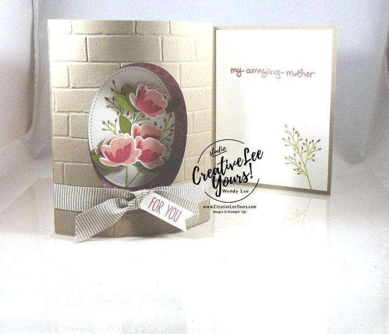 Domed Front Window Card by Wendy Lee,Stampin Up, #creativeleeyours, creatively yours, April 2017 FMN class, Jar of Love Stamp set, Greatest Greeting stamp set, everyday jars framelits, layering ovals framelits,emboss resist technique, mothers day card
