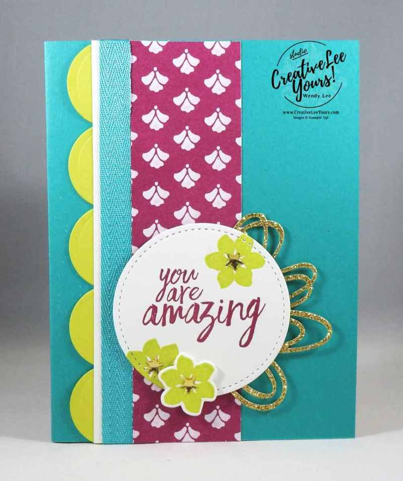 Amazing Pop Up Blooms by Wendy Lee, Stampin Up, #creativeleeyours, creatively yours, stamping, rubber stamps, hand made card, all things thanks stamp set, colorful seasons stamp set,wstitched shapes framelits, layering ovals framelits, sunshine wishes thinlits, seasonal layers thinlits, thank you card, June FMN class