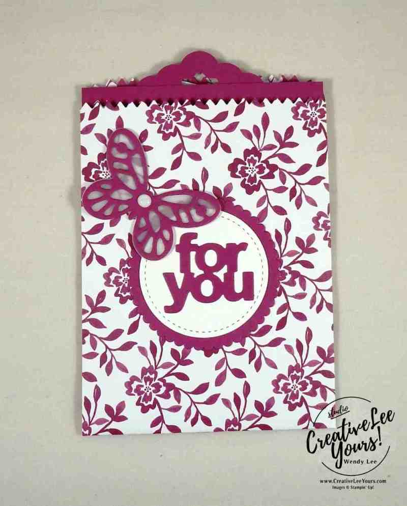For You Mini Treat Bag by Sheila Tatum, Stampin Up, mini treat bag thinlits, bold butterfly framelits, butterflies thinlits, happy birthday thinlits, happy birthday gorgeous stamp set, diemonds team swap