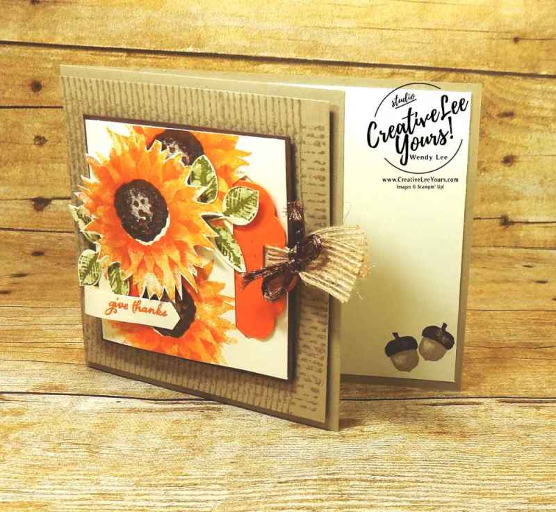 Painted Harvest Thankful Tag with Wendy Lee, Stampin Up, #creativeleeyours, September 2017 FMN class, fall card, hand made, stamping,rubber stamps