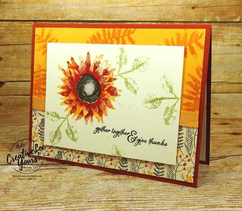 Give thanks by Belinda Rodgers, wendy lee, #creativeleeyours, Stampin Up, stamping, hand made card, faal, thankful, autumn harvest stamp set, diemonds team swap