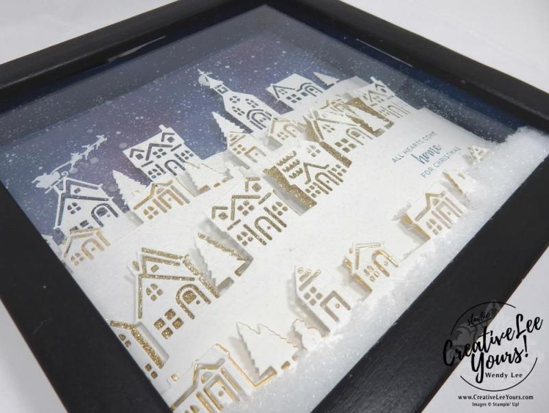 Hometown Home Decor Class by Wendy Lee,stampin Up, hand made, stamping, big shot, hearts come home stamp set, hometown greeting edgelits, christmas, shadowbox frame