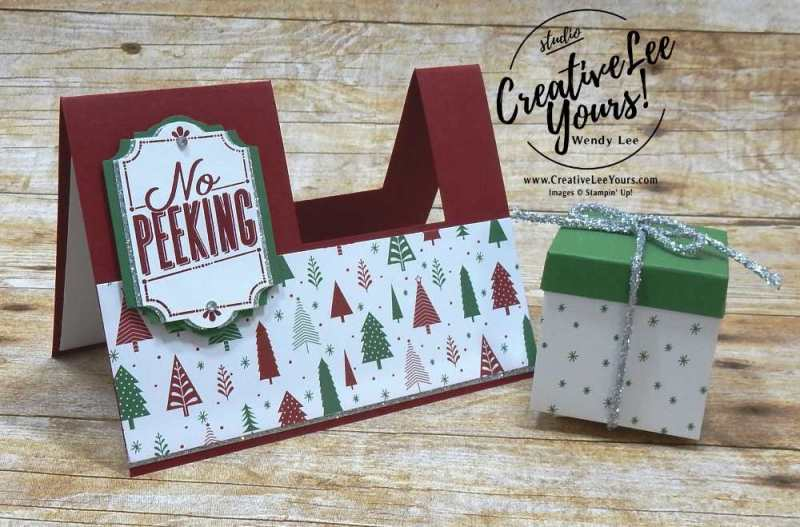 Chrismas Gift Box on a Card,Stampin up, #creativeleeyours, creatively yours, stamping, hand made, holiday cards, christmas cards,FMN card class,rubber stamps,merry little labels,star of light, everyday label