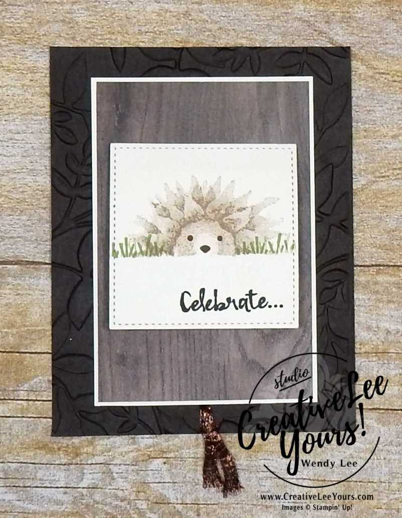 Hedgehog Single Waterfall by Wendy Lee, stamping, handmade, autumn harvest stamp set,stitched shapes Framelits,fun fold,,november 2017 fmn class,#creativeleeyours, creatively yours,stampin up,birthday