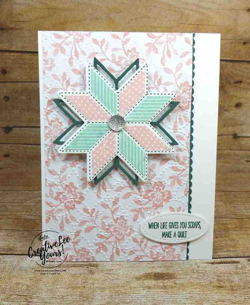 Quilt Scraps by wendy lee, stampin up, christmas quilt stamp set,quilt builder thinlits, quilt top embossing folder, stamping,handmade card, paper quilt, rubber stamps,#creativeleeyours