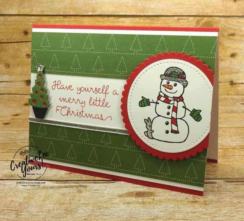 Merry Little Snowman by Sheila Tatum, Stampin Up, cute holiday card, handmade, wendy lee, #creativeleeyours, creatively yours, christmas quilt stamp set, seasonal chums stamp set,seasonal tags framelits, diemonds team swap, stamping