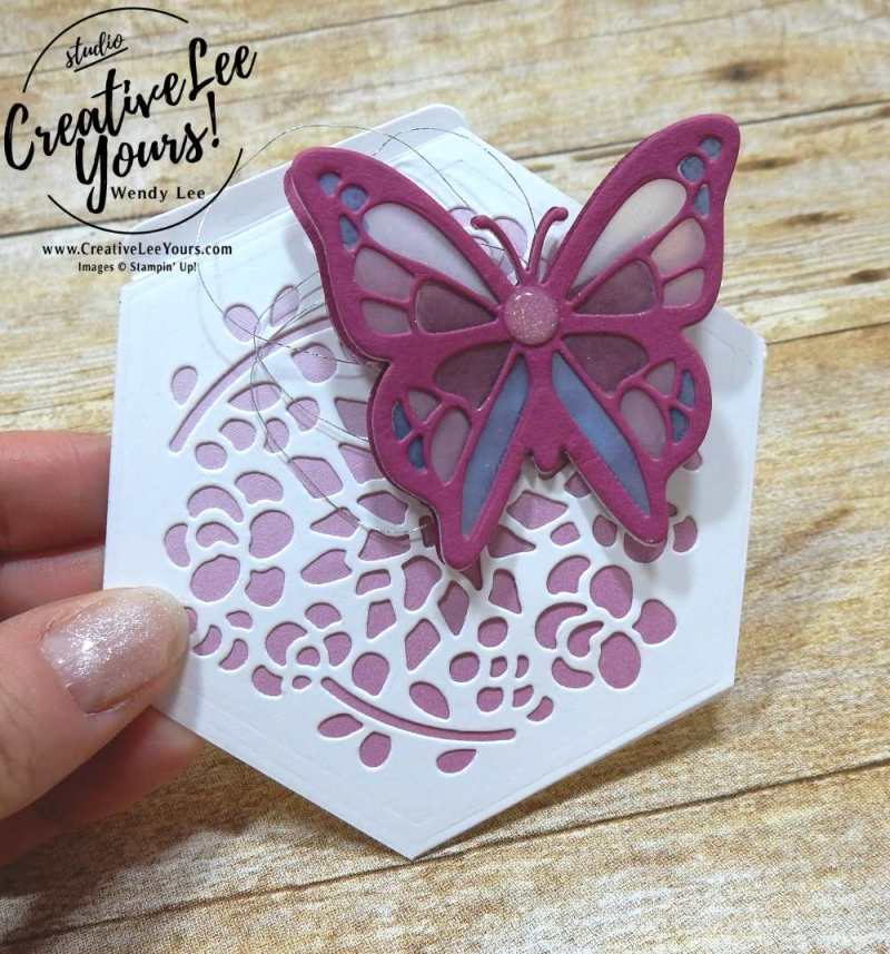 Stained Glass Butterfly by Wendy Lee,stampin up,stamping,blends, alcohol markers,#creativeleeyours,creatively yours,December 2017 FMN class,handmade card,thank you,fun fold easel card