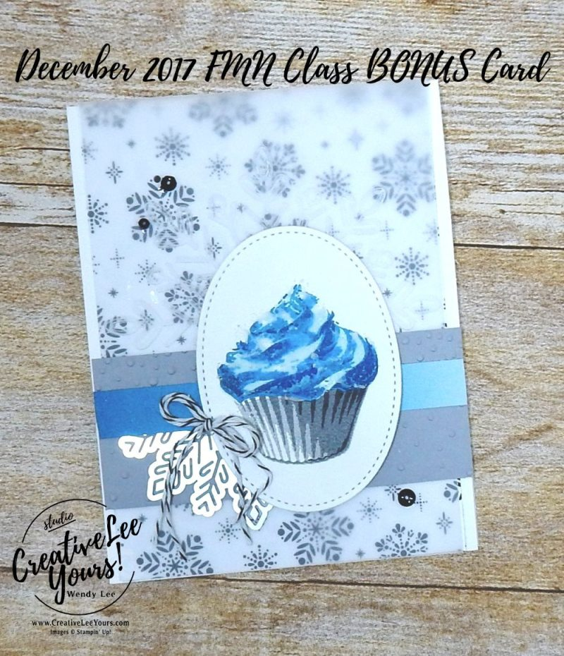 Winter Birthday by Wendy Lee, stampin up, #creativeleeyours,creatively yours,stamping,handmade,december FMN card class, birthday card,sweet cupcake stamp set, happy birthday thinlits