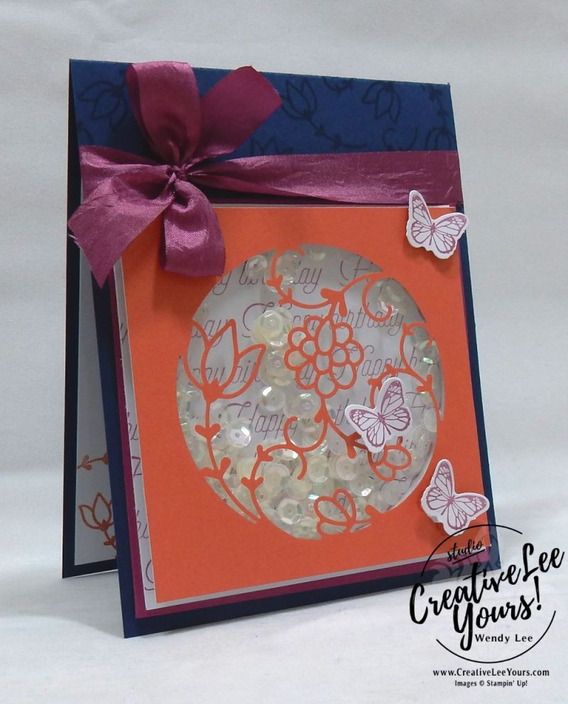 Birthday Shaker by Wendy Lee,December 2017 Paper Pumpkin Flora and Flutter Kit,stampin up, handmade cards, rubber stamps, stamping, kit, subscription, floral cards, congratulations, SAB,sale-a-bration,#creativeleeyours, creatively yours
