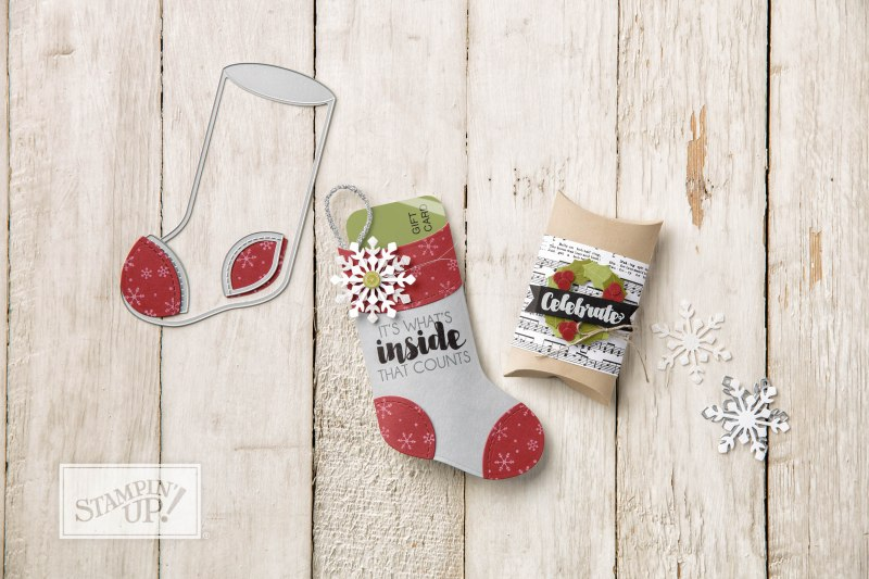 Trim Your Stocking Thinlits by Stampin' Up, Wendy lee, #creativeleeyours, treat bags, gift card holder, holiday stockings, stamping, handmade, big shot, packaging, pillow box