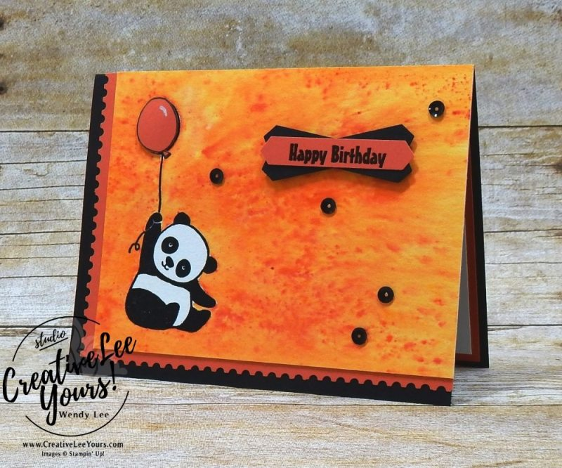 Birthday Panda by Sheila Tatum, Diemonds team swap, wendy lee, #creativeleeyours, creatively yours, stampin Up, stamping, handmade, brusho watercoloring, party panda stamp set, sale-a-bration, SAB, cute birthday card
