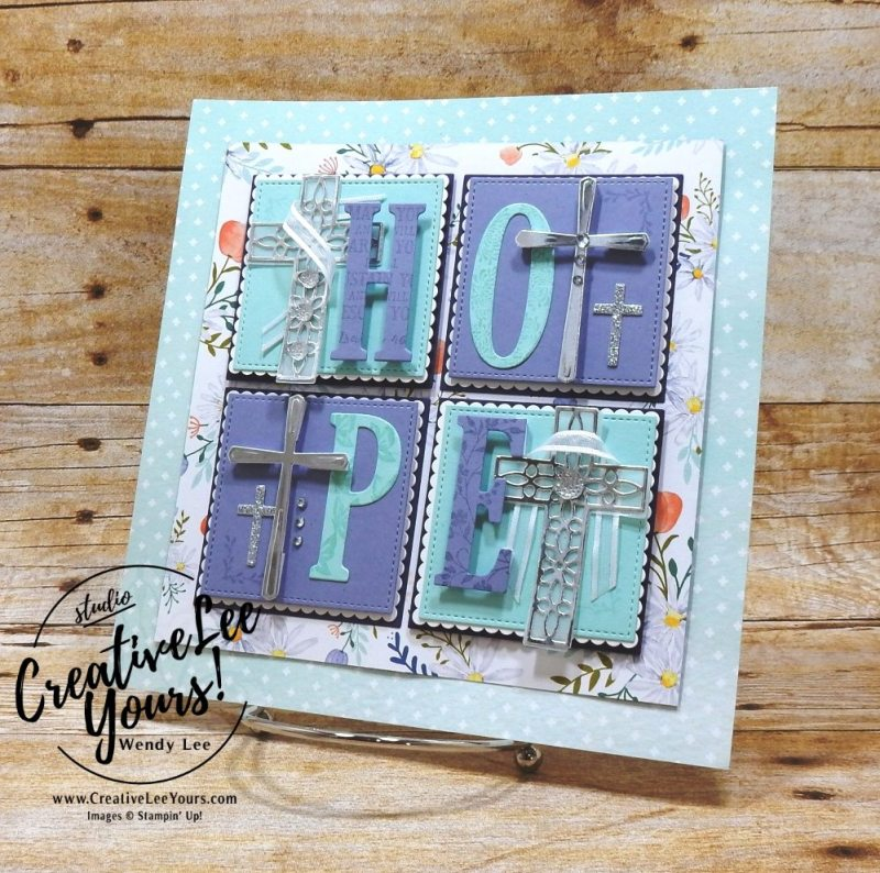 Hope framed art,love framed art class by wendy lee, stampin up,#creativeleeyours, creatively yours, creative-lee yours,home decor, handmade,valentine,love, classes, large letters framelits, sweet & sassy framelits, layering squares framelits,hold on to hope stamp set,cross of hope framelits,SU