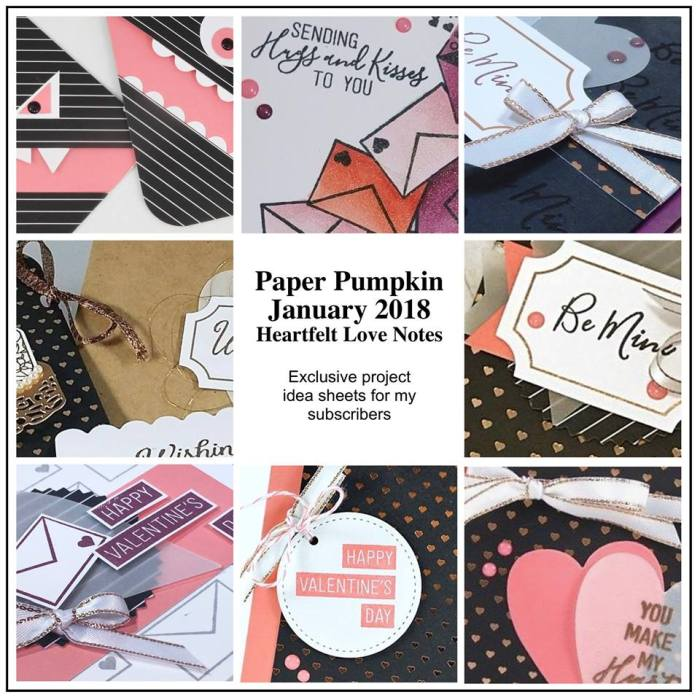 January 2018 Heartfelt love notes Paper Pumpkin Kit by wendy lee, stampin up, handmade cards, rubber stamps, stamping, kit, subscription, love cards,valentine cards
