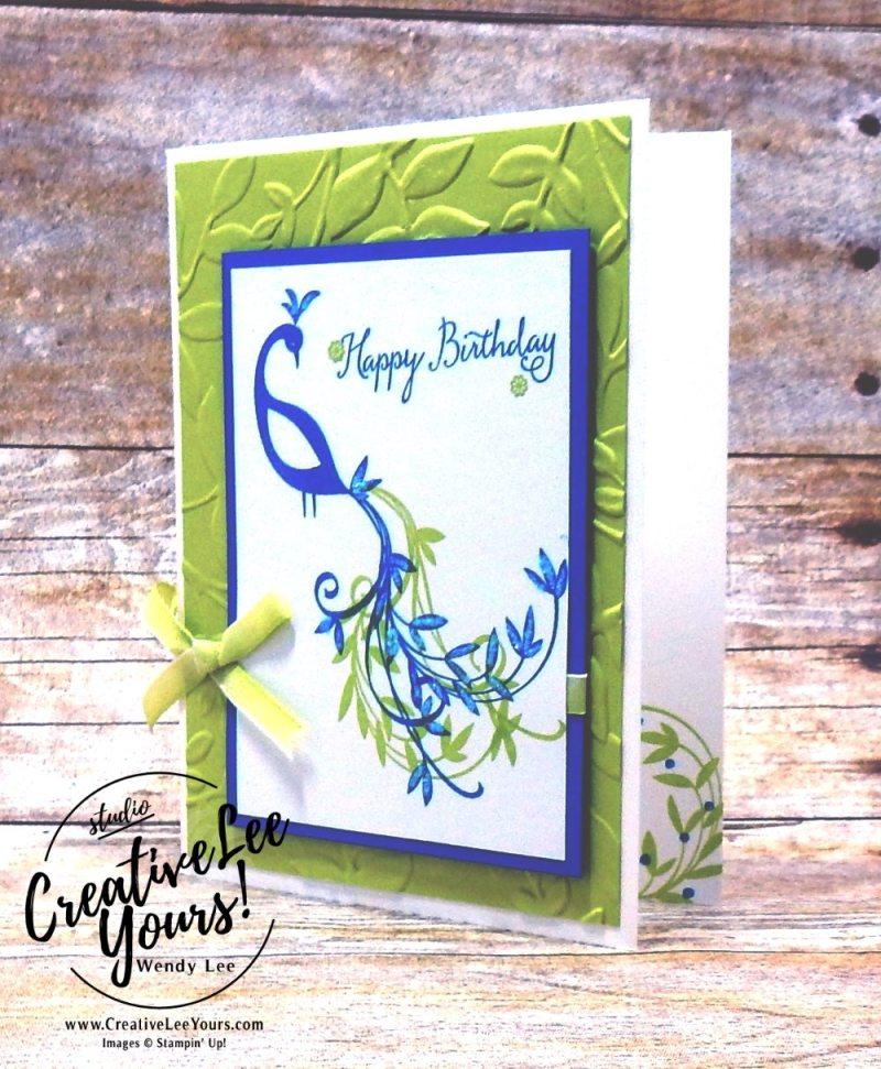 Birthday Peacock by Jennifer Hamlin,wendy lee, stampin up, stamping, beautiful peacock stamp set, SAB,Sale-a-bration,handmade,SU,#creativeleeyours, creatively yours,creative-lee yours, SU cards,diemonds team swap