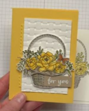 Blossoming Basket Stamp Set and Basket Weave Dynamic Textured Impressions™ Embossing Folder bundle video with wendy lee,stampin up, stamping,handmade,#creativeleeyours,creative-lee yours, creatively yours,SU,SU cards,SAB,sale-a-bration,free stamps